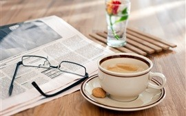Still-life-wooden-table-glasses-newspaper-coffee_s