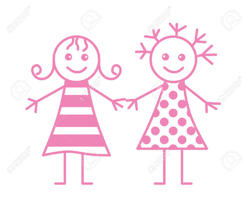 6569701-Two-little-girls-Stock-Vector-girls-cartoo