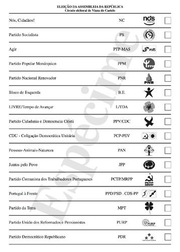 Legislativas 2015, boletim de voto, Viana do Caste