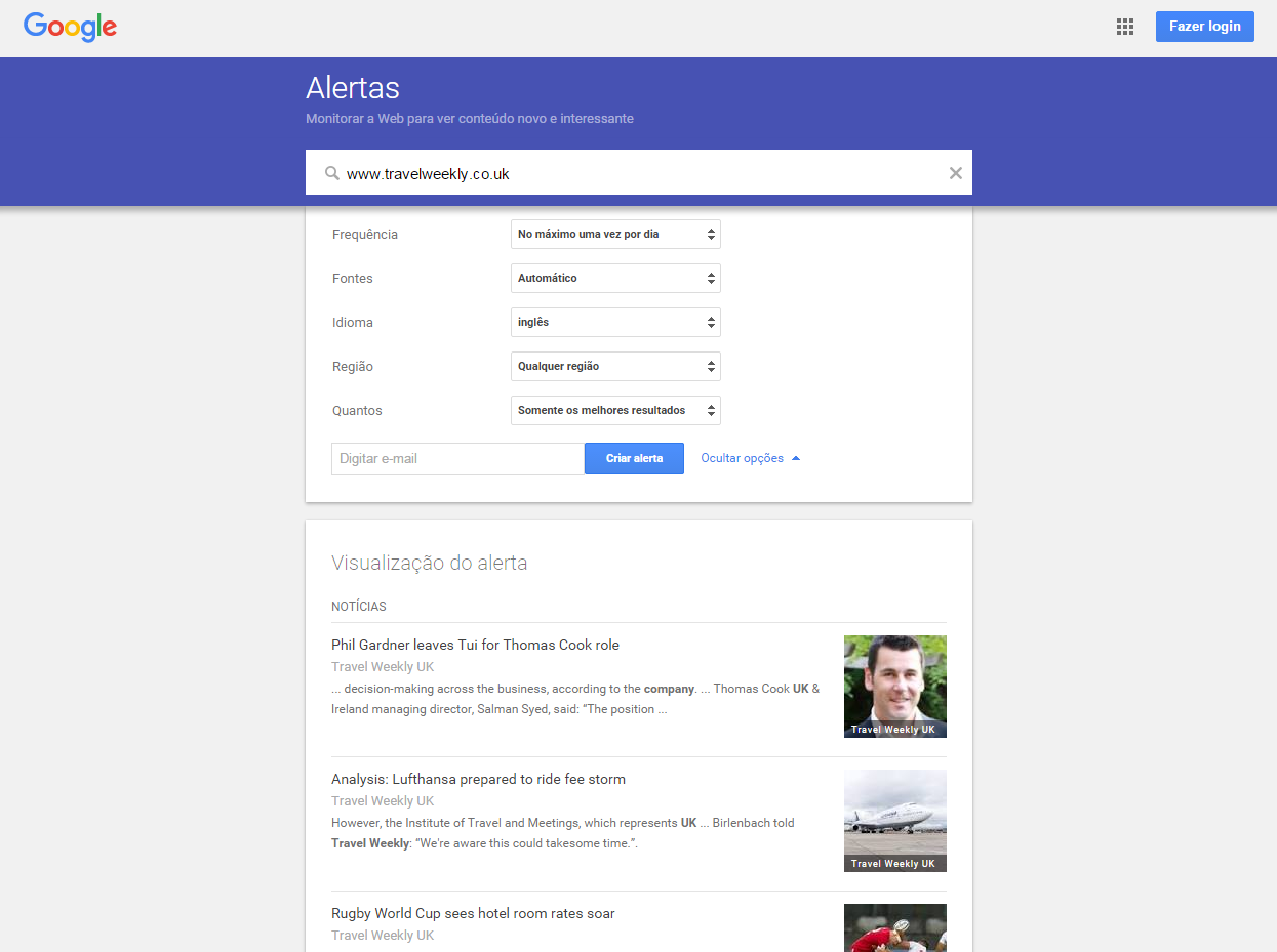 Google Alerts - Alerta customizável do Google
