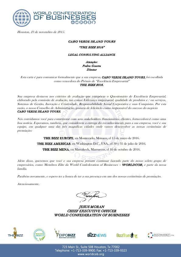 Convite Oficial para CABO VERDE ISLAND TOURS - BIZ