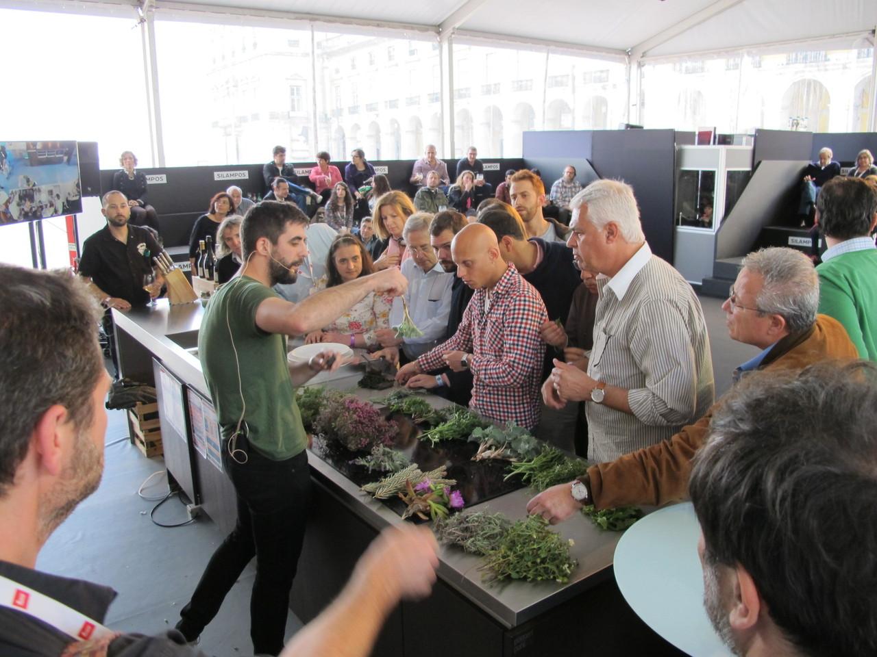 Leonardo Pereira apresentando as ervas