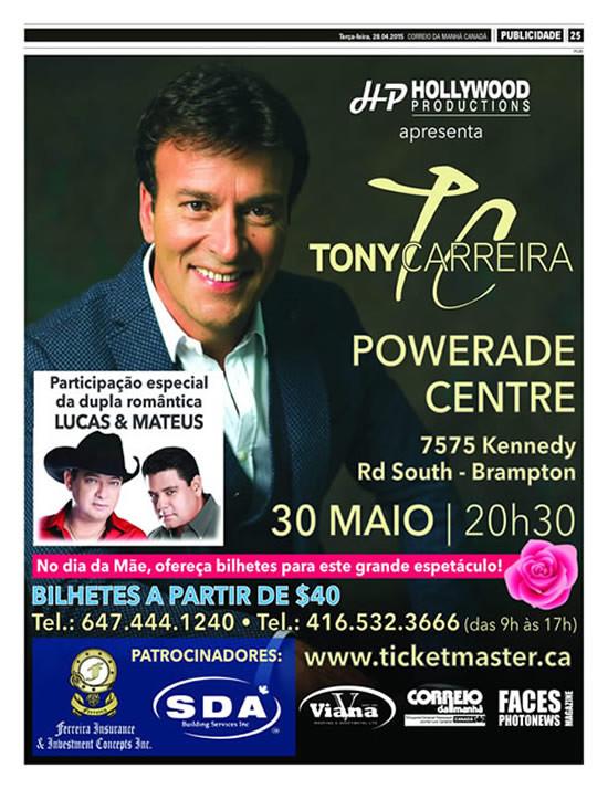 Espectáculo em Toronto 30 de Maio 2015 do Tony Carreira