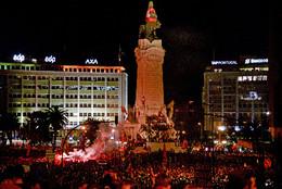 Festejos benfiquistas no Marquês