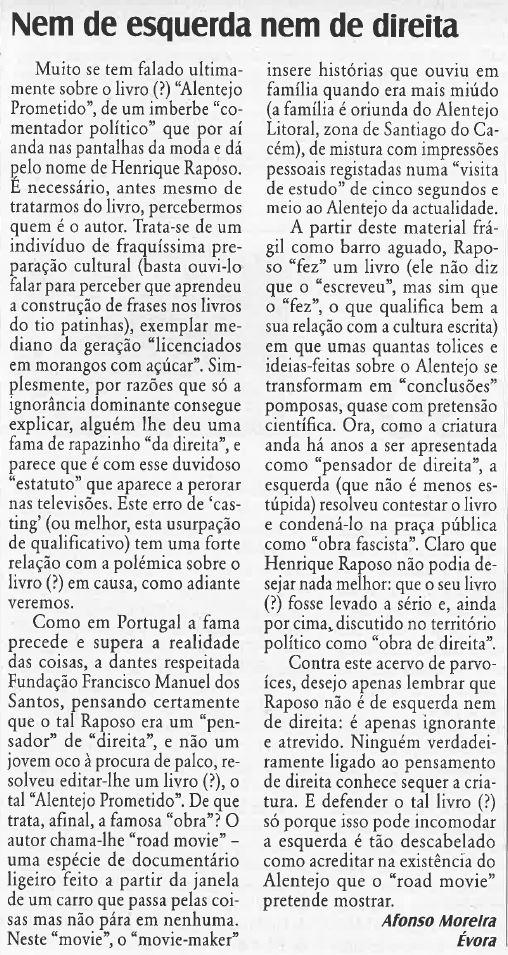Afonso Moreira (Cartas ao Director), «O Diabo» 5/IV/16),