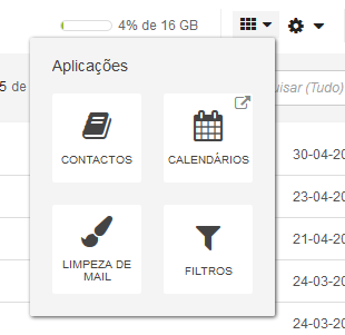 SAPO Mail - menu de apps