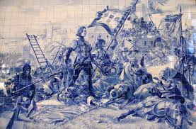 Painel de azulejos de Jorge Colaço (1864 - 1942) na Estação de São Bento, no Porto: o Infante D. Henrique na conquista de Ceuta.